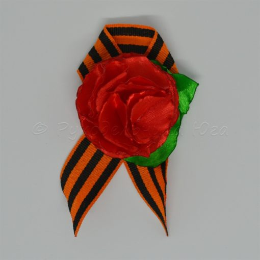 """1a roza 510x510 - Брошь из георгиевской ленты """"Гвоздика"""""""