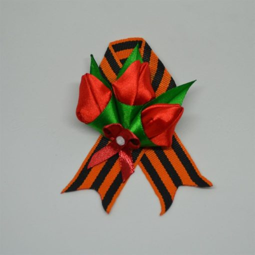 """14aa tyulpany 510x510 - Брошь из георгиевской ленты """"Тюльпаны"""""""